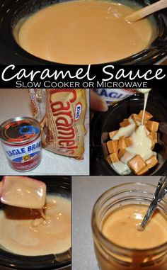 Caramel Sauce -- 2-ingredient caramel sauce recipe (slow cooker or microwave)! Smooth, rich and creamy -- delicious with ice cream apples and more!! # caramel #dessert | www.creativeontheside.com
