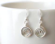 307 Artisan Swirl Spiral Earrings in Fine Silver