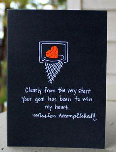 Love Card, Basketball Card - The Paper Hug Factory: MVP Basketball- Valentine's Day Card. Birthday Surprise Boyfriend, Birthday Gifts For Best Friend, Birthday Gift For Him, Birthday Love, Birthday Cards, Birthday Ideas, Birthday Presents, Bf Gifts, Diy Gifts For Boyfriend