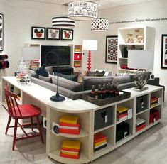 Don't like the Disney theme - but I love the layout. Homeschool/family room.