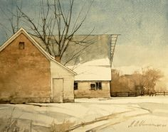 "Old Brick and Barn by Joseph Alleman Watercolor ~ 8"" x 10"""