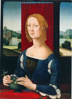 1460-1537 Lorenzo di Credi (Lorenzo d'Andrea d'Oderigo Portrait of a Young Woman or Lady with Jasmine Flowers