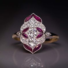 Antique Jewelry Antique Early Art Deco Diamond Ruby Engagement Ring, Austrian, Vienna, circa A delicate early Art Deco platinum topped gold engagement ring is densely set with bright white old European cut diamonds accented by stylized ruby leaves. Antique Engagement Rings, Antique Rings, Antique Jewelry, Vintage Jewelry, Antique Art, Vintage Rings, Art Deco Engagement Rings, Edwardian Jewelry, Vintage Bracelet