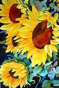 "Sunflowers by Linda Sherman Watercolor ~ 21"" x 14"""