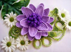 Edinir-Crochê: Flores em crochê tamanho grande