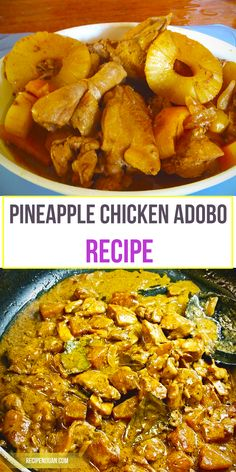 Eaten, as always, with rice, this pineapple chicken adobo recipe is perfect for dinner and lunch. This dish is also the perfect viand for bringing to picnics and long travels because of the preserving nature of the vinegar included in its mixture; thus, making it good for consumption long after it was cooked.