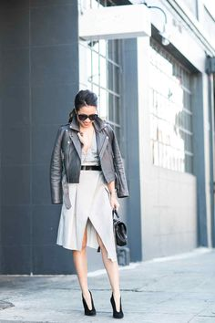 Moody Grays :: Cropped jacket & Wrap skirt :: Outfit :: Top :: Maje jacket , ASOS top Bottom :: ASOS Shoes :: Gianvito Rossi Bag :: Saint Laurent Accessories :: Karen Walker sunglasses, old belt , Sophie Bille Brahe earring Published: February 8, 2016
