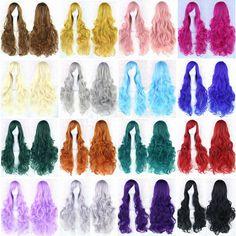 Women Fashion Lady Anime Long Curly Wavy Hair Party Cosplay Full Wig 45 #FullWig