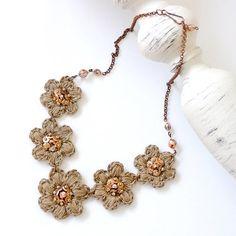 Crochet flower necklace crochet linen necklace by BertaAtelier