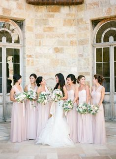 pink mix and match bridesmaid dress styles in different necklines