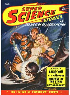 Super Science Stories magazine sci-fi pulp cover art by Norman Norm Saunders.