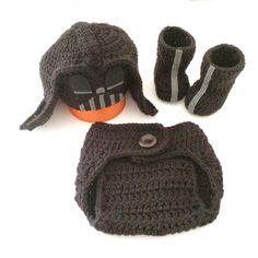 Crochet star wars Darth Vader set / photo prop / star wars / Darth Vader / diaper cover by LovinglyNie on Etsy https://www.etsy.com/listing/224360783/crochet-star-wars-darth-vader-set-photo