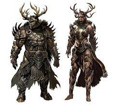 """""""Guild Wars 2"""" concept art by Kekai Kotaki. This was the concept that was turned into Tier 3 heavy norn cultural armor, FYI."""