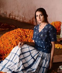 #Shibori indigo-dyed Chanderi and cotton #apparel; available now on jaypore.com.