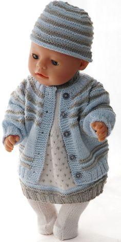 Vêtements de poupées - Magnifique robe et pull dans des couleurs pures