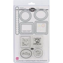 Sizzix Framelits Dies 9/Pkg With Clear Stamps-Word Labels