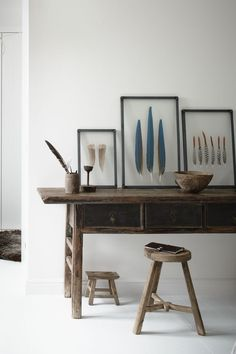 Feather   Blue   desk   Study   Home   White   Decoration