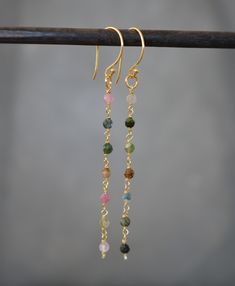 Tourmaline beads and 24k gold vermeil earrings. Tourmaline earrings. Gift for her.