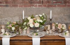 Rustic Romance   with soft, organic bouquets and centerpieces, lace, birch bark candles, silver teapots and mercury glass with lots of vintage touches for the table decor