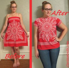 Think Pink Dress-to-Tee Refashion by CarissaKnits