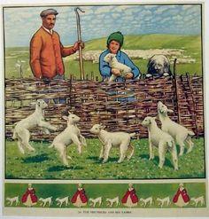 1930's British Sheep Dog & Shepherd Vintage Children's Antique Advertising Poster