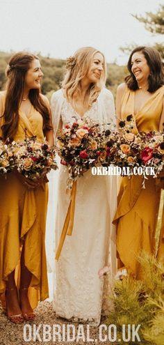 Elegant A-line V-neck Sleeveless High-Low Bridesmaid Dress, FC4834 #bridesmaiddresses #bridesmaiddress #bridesmaids #dressesformaidofhonor #weddingparty #2021bridesmaiddresses #2021wedding Mustard Bridesmaid Dresses, Beige Bridesmaids, Backless Bridesmaid Dress, High Low Bridesmaid Dresses, Bridesmaid Dress Colors, Wedding Bridesmaids, Hippie Bridesmaid Dresses, Bridesmaid Flowers, Bridesmaid Gifts
