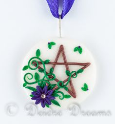 "Pentagram Pendant, Pentacle Pendant, Pentacle Wreath Pendant, Wiccan Pendant, Pagan Pendant, Polymer Clay Pendant, Pentagram Jewelry This enchanting pendant is called ""Full Moon Wishes"""