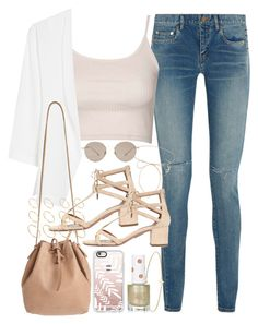 """Outfit for a summer date"" by ferned ❤ liked on Polyvore featuring Yves Saint Laurent, Topshop, MANGO, Casetify, Mint & Rose, Aquazzura, ASOS, Minor Obsessions, Gucci and Lilou"