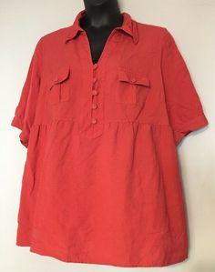 4b6c3f2397d0ac Details about Lane Bryant Womens T-Shirt Size 26 28 Short Sleeve Shimmer  Gold Top Linen Blend
