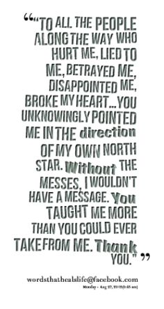 To all the people along the way who hurt me, lied to me, betrayed me, disappointed me, broke my heart... You unknowingly pointed me in the direction of my own North Star.  Without the messes, I wouldn't have a message.  You taught me more than you could ever take from me.  Thank you.
