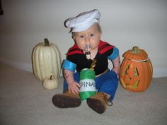 Baby Popeye costume complete with pipe and spinach