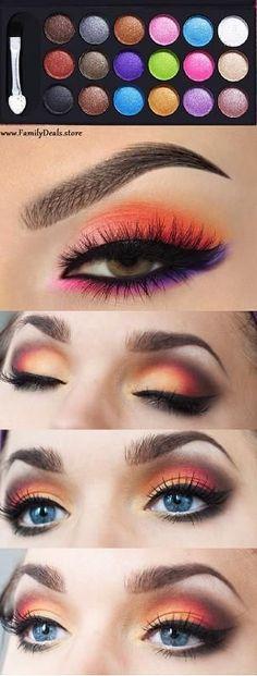 """Tropical Sunset"" Summer notes Eye shadow Palette summer style eye makeup smoky eye"
