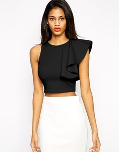Enlarge ASOS Crop Top in Texture with One Shoulder Ruffle