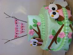Owl Baby Shower Cake.  Buttercream frosting, yellow cake, Pistachio Mousse filling