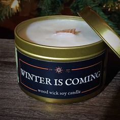 The Candle in the North Wood Wick Candles, Soy Candles, Candle Jars, Fantasy Rpg, Book Lovers Gifts, Geek Gifts, Winter Is Coming, Coffee Cans, Wicked