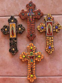 Mini mosaic wall crosses by New Mexico Artist Susanne Baca