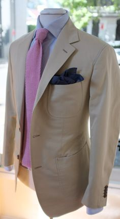 Patrick Johnson - love the patch pockets and the contrasting pink knitted tie and blue pocket square