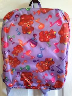 Vintage Lisa Frank 1986 Bears Music Notes Rainbow Backpack Excellent Condition