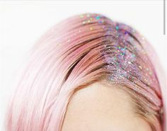 perfect pastel pink fairy hair with rainbow holo glitter roots