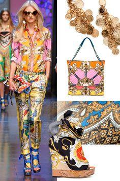 Yunan nostaljik baskıları, renkleri ve mimari yapı özelliklerini barındıran  Dolce & Gabbana tasarımları