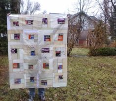 Echino Car and Neutral Quilt: Finished-ish