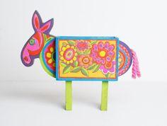 60s Floral Donkey Desk Organizer / MOD Horse