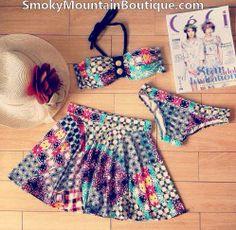 Multi Color 3 Piece Swimsuit Set With Top, Bikini Bottom & Skirt (XS/S/M) 226 - Smoky Mountain Boutique | Smoky Mountain Boutique