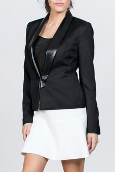 You can never go wrong with a black blazer!  Perfect staple piece in your closet to dress up or down with a blouse tee or dress. Model is wearing a size Small  -There are 3 buttons at the cuff. -Fiber Content: Contrast lining collar is 55% man made Leather & 45% Polyester                          Lining is 96% Polyester & 4% Spandex  Care Instructions: Dry Clean Only Leather Contrast Jacket by Ark & Co.. Clothing - Jackets Coats & Blazers - Jackets - Blazers Louisiana