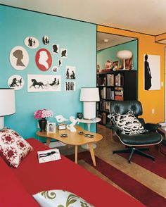 This room is a complementary color scheme with the yellow and blue walls!
