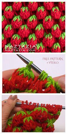 Strawberry Stitch Free Crochet Pattern + Video – DIY Magazine – Knitting patterns, knitting designs, knitting for beginners. Crochet Diy, Crochet Gratis, Crochet Chart, Free Knitting, Knitting Patterns, Tunisian Crochet Stitches, Yarn Crafts, Fabric Crafts, Tunisian Crochet
