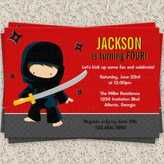 Announce your party in style with this cute modern ninja themed invitation. Features a cute little ninja ready to eliminate any bad guys that may