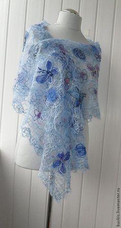 Купить Голубая лазурь --Ажурный шарф - палантин - голубой, ажурный шарф, нежно-голубой, ажур