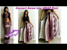Convert Saree into Wrap Pant/ Diy Wrap in 10 MInutes Diy Summer Clothes, Diy Clothes, Clothes Refashion, Fashion Pants, Diy Fashion, Fashion Outfits, Plazzo Pants Pattern, Saree With Pants, Wrap Pants
