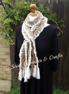 Coffee and cream lacy scarf by TySiriolCeramics on Etsy, £15.00